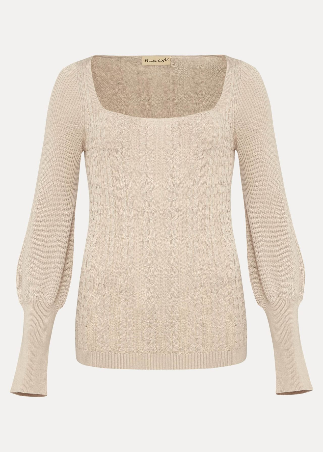 Lucca Square Neck Cable Knit Jumper