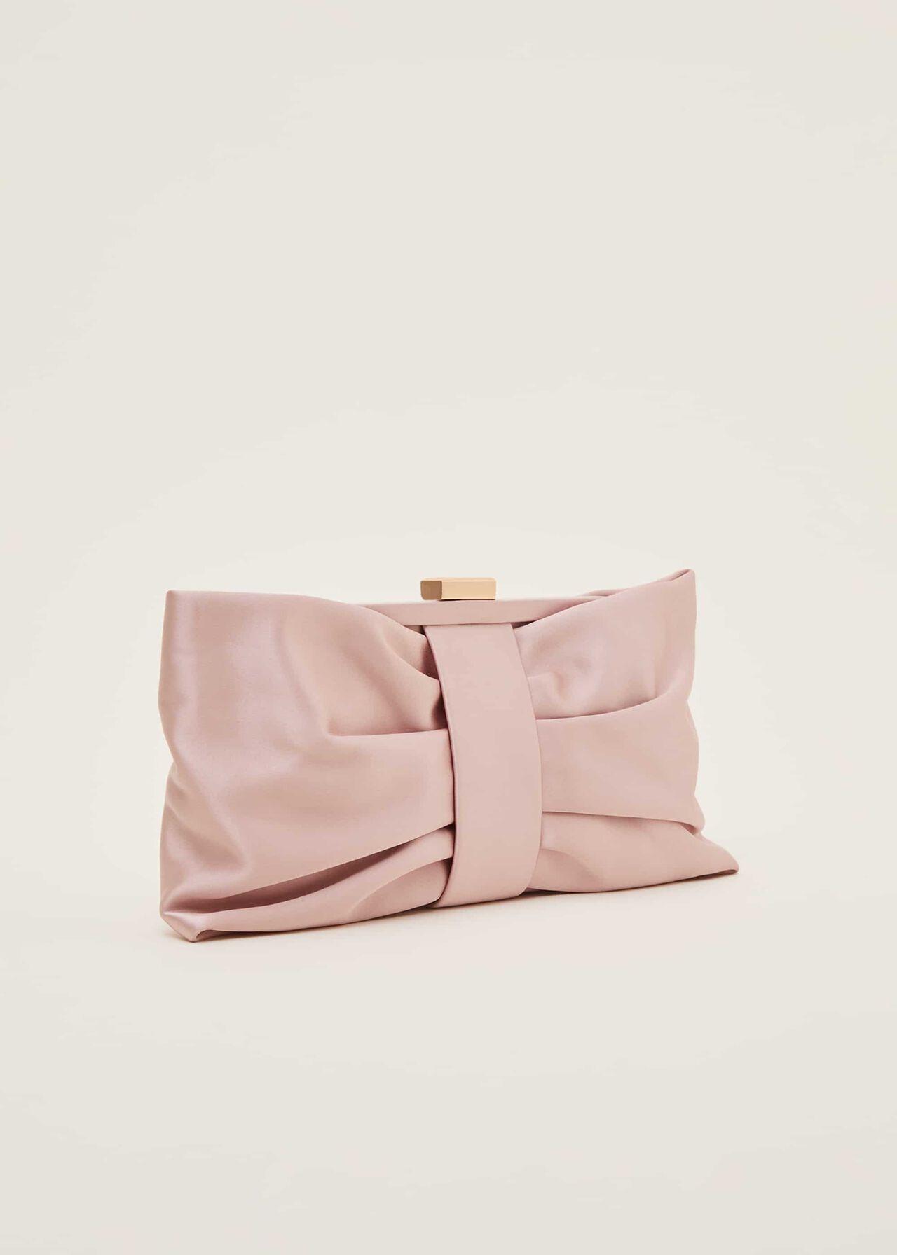Meaghan Satin Bow Clutch Bag