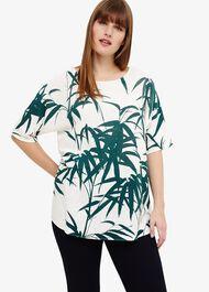 Saz Palm Print Knit Top