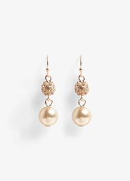 Bettina Faux Pearl And Pave Drop Earrings