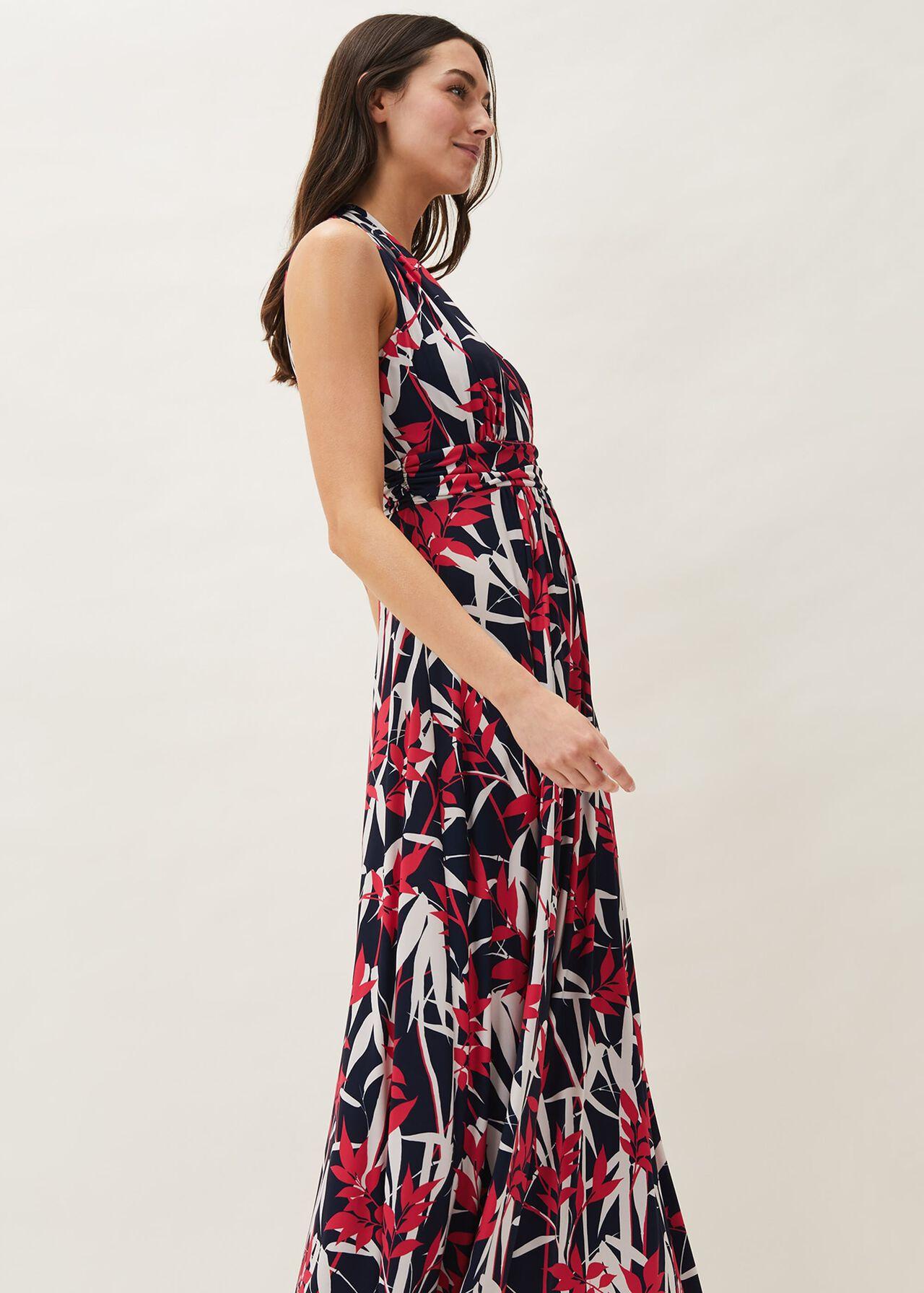 Ellen Palm Print Jersey Maxi Dress