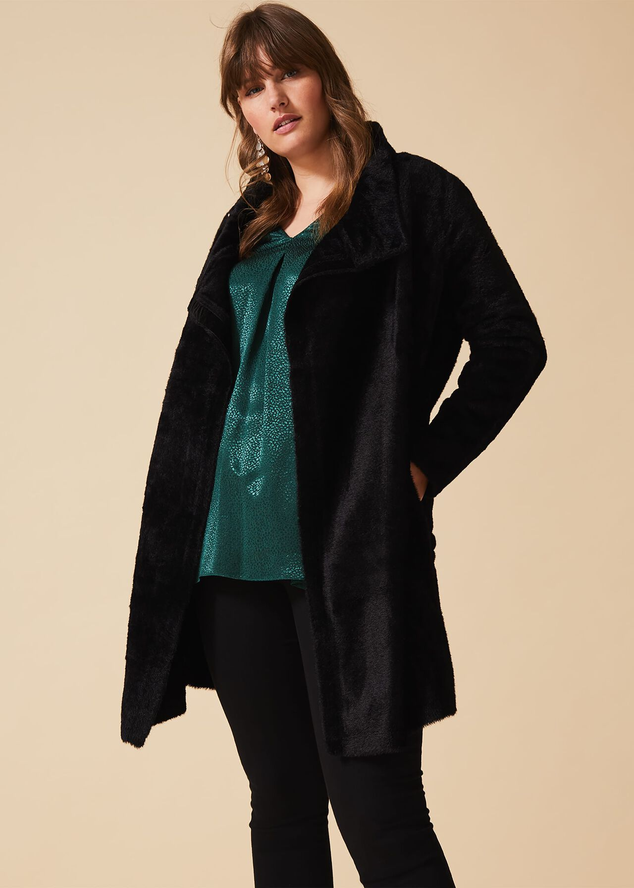 Phase Eight Fiona Fluffy Knit Coatigan Noir Taille UK18 RRP120
