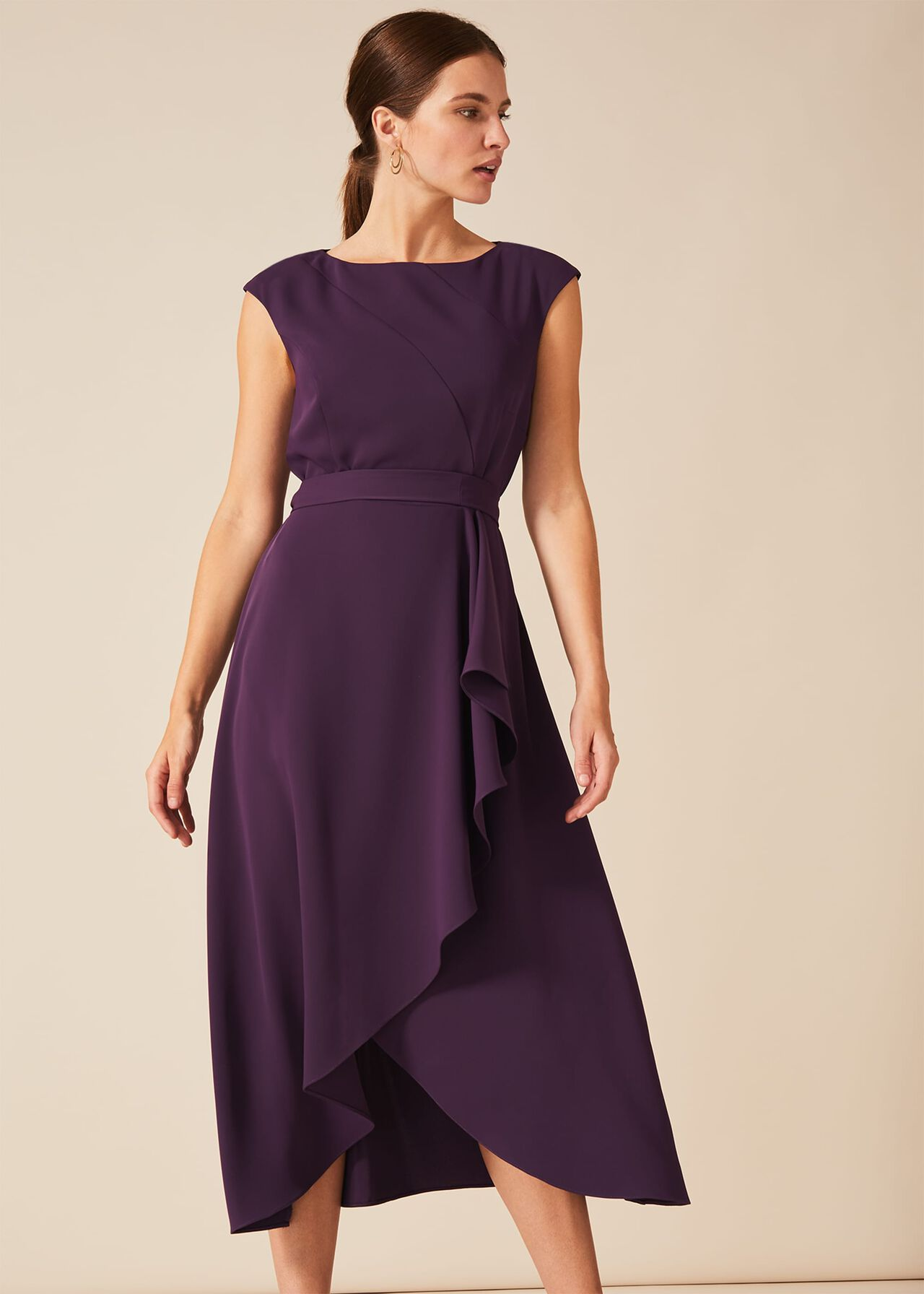 Phase Eight rushelle sans manches Fit /& Flare Dress Carmin Taille UK12 RRP110