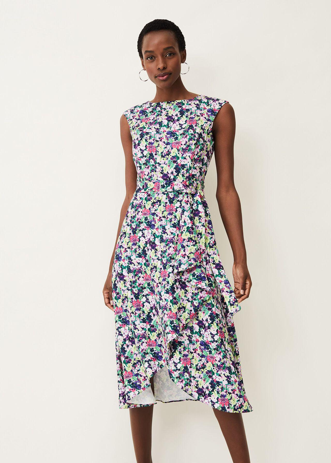 Arya Floral Frill Hem Sleeveless Midi Dress