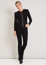 Suzette Faux Leather Zip Front Top