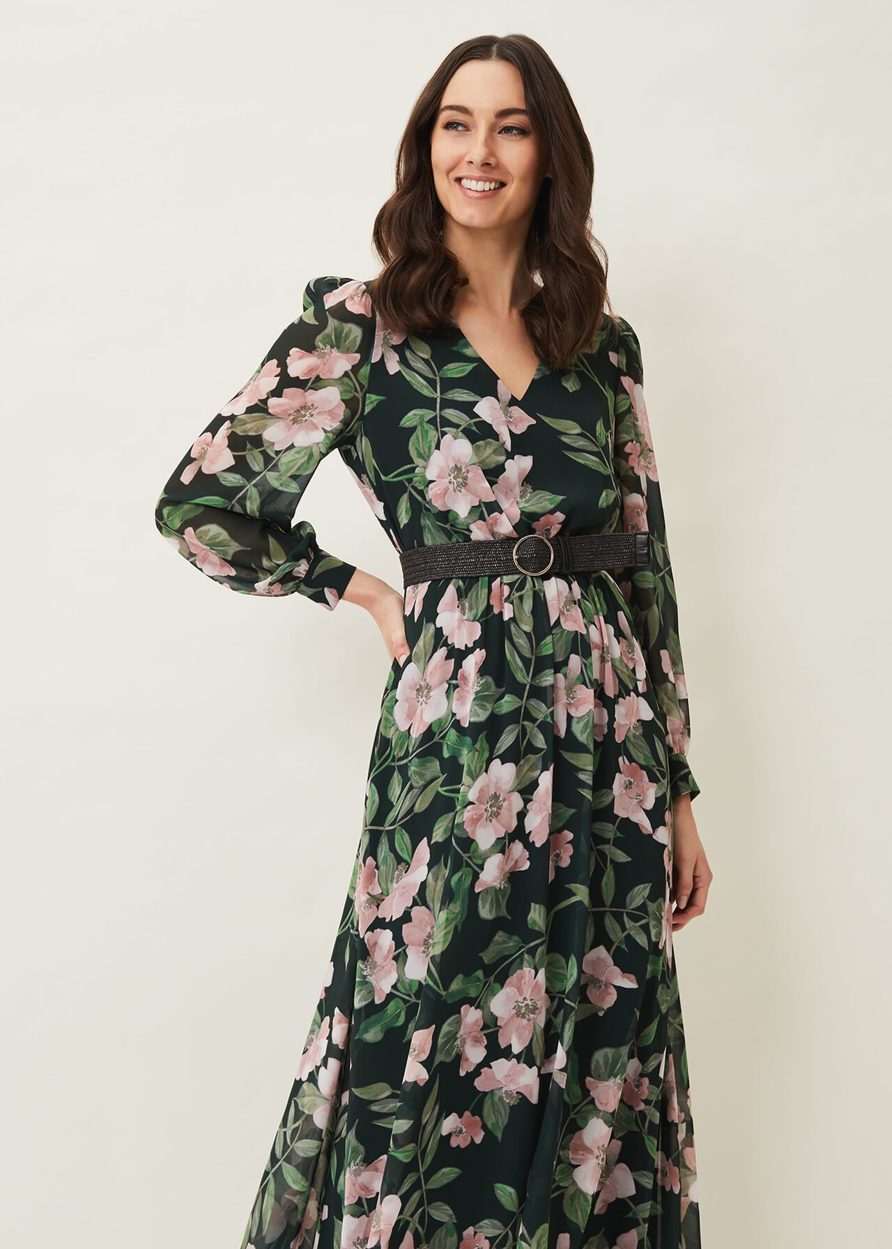 Hali Floral Belted Maxi Dress
