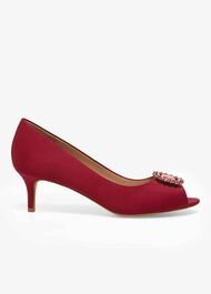 Emele Jewelled Satin Peep Toe Shoes