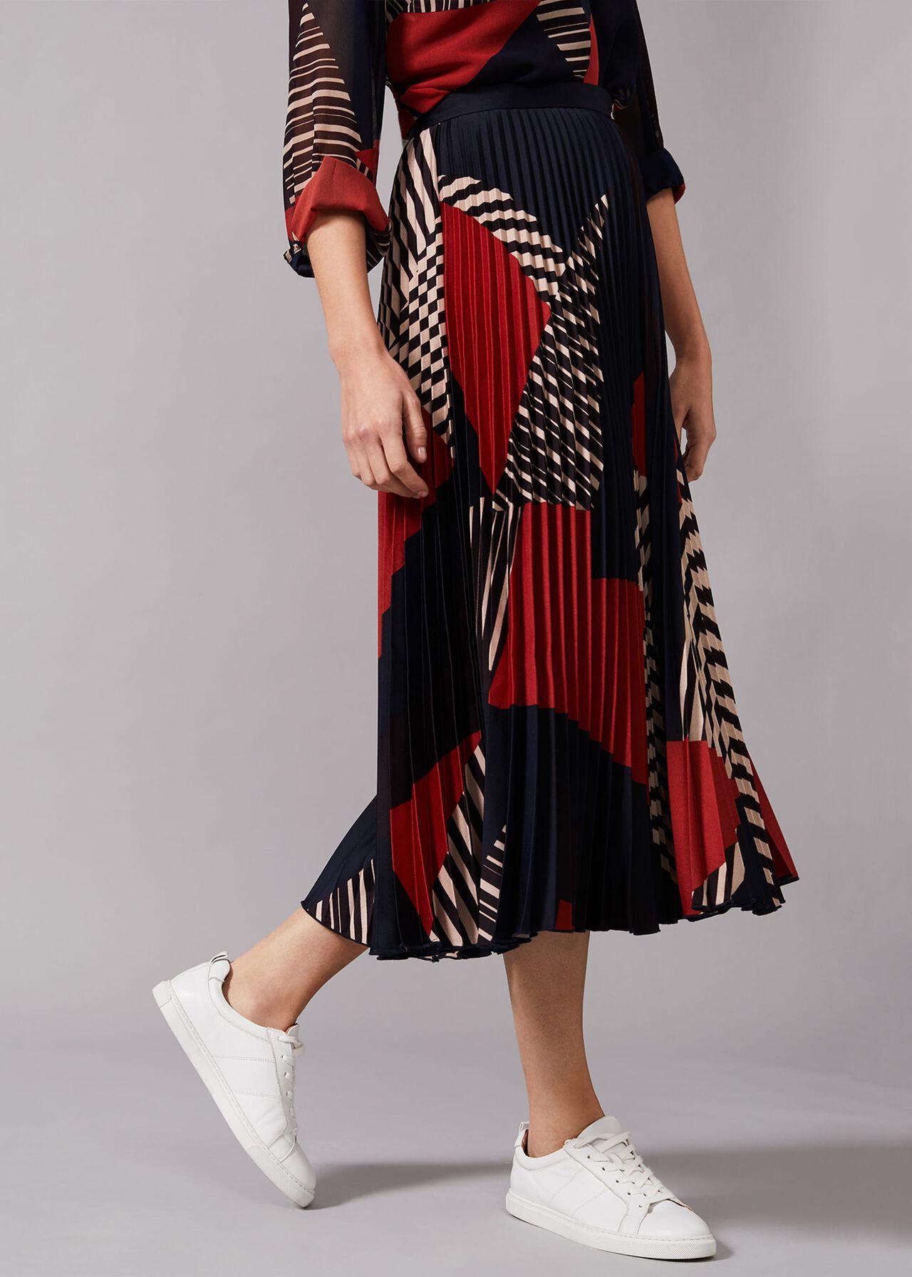 Clarice Print Pleated Skirt