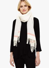 Cilla Stripe Border Knitted Scarf