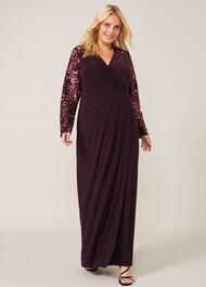 Melony Sequin Sleeve Maxi Dress