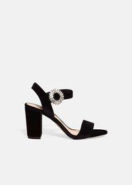 Cat Velvet Jewel Block Heel