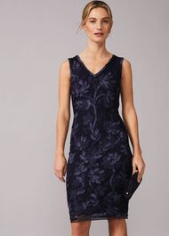 Blanca Tapework Lace Fitted Dress