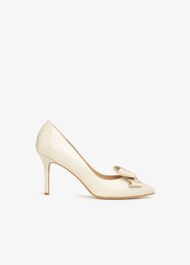 Ariel Metallic Bow Pointed Court Shoes