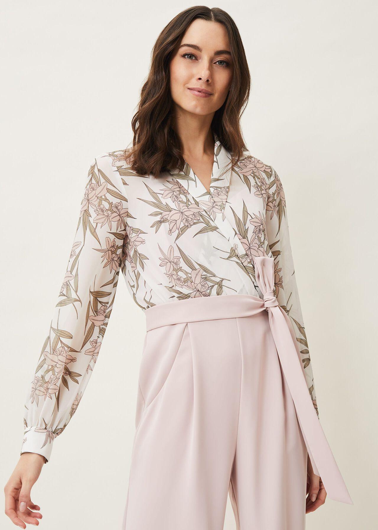 Gracen Palm Print Bodice Jumpsuit