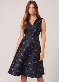 Ottilie Floral Jacquard Fit And Flare Dress