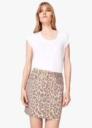 Alexia Leopard Print Denim Skirt