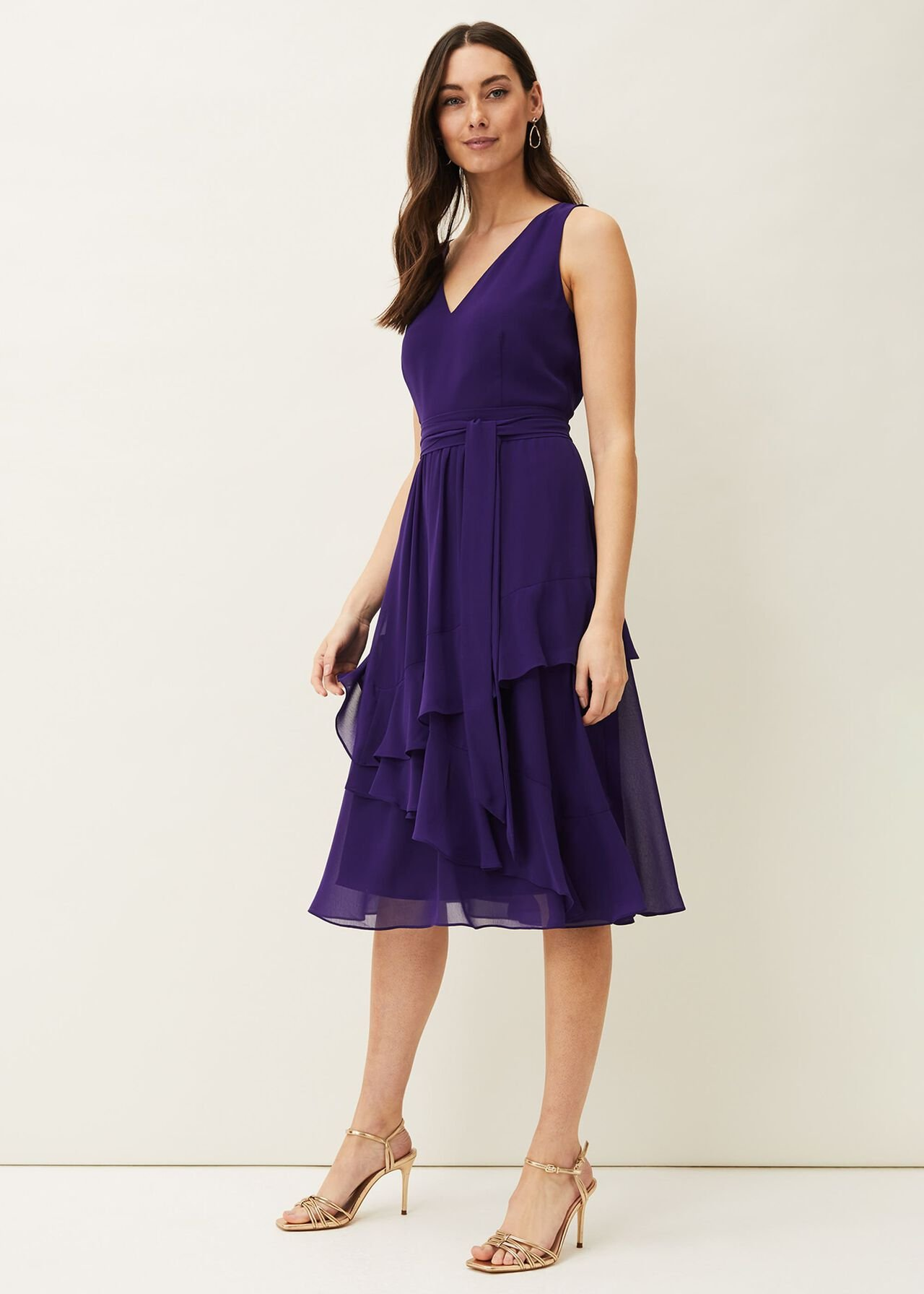 Breesha Tiered V-Neck Fit And Flare Belted Dress