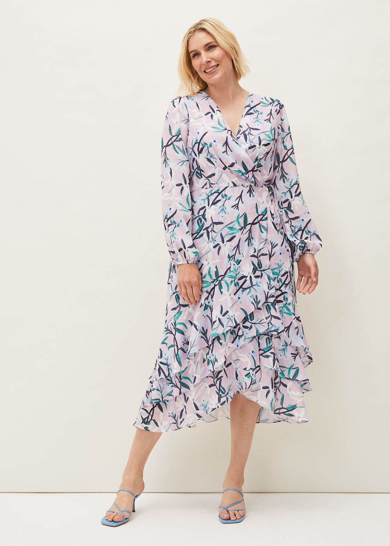 Jenna Floral Long Sleeved V-Neck Midi Dress