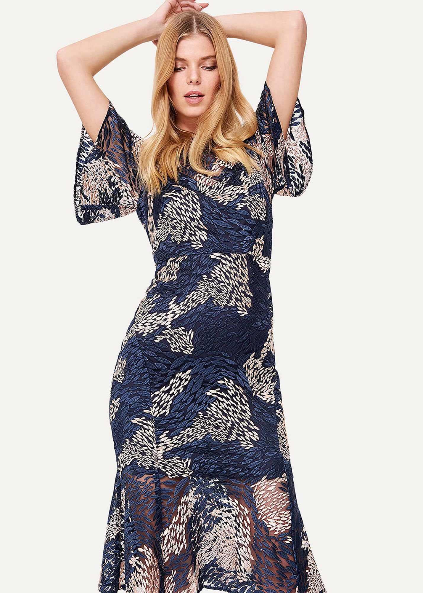 47a910dad2e9 Jamil Lace Fluted Sleeve Dress | Phase Eight | Phase Eight