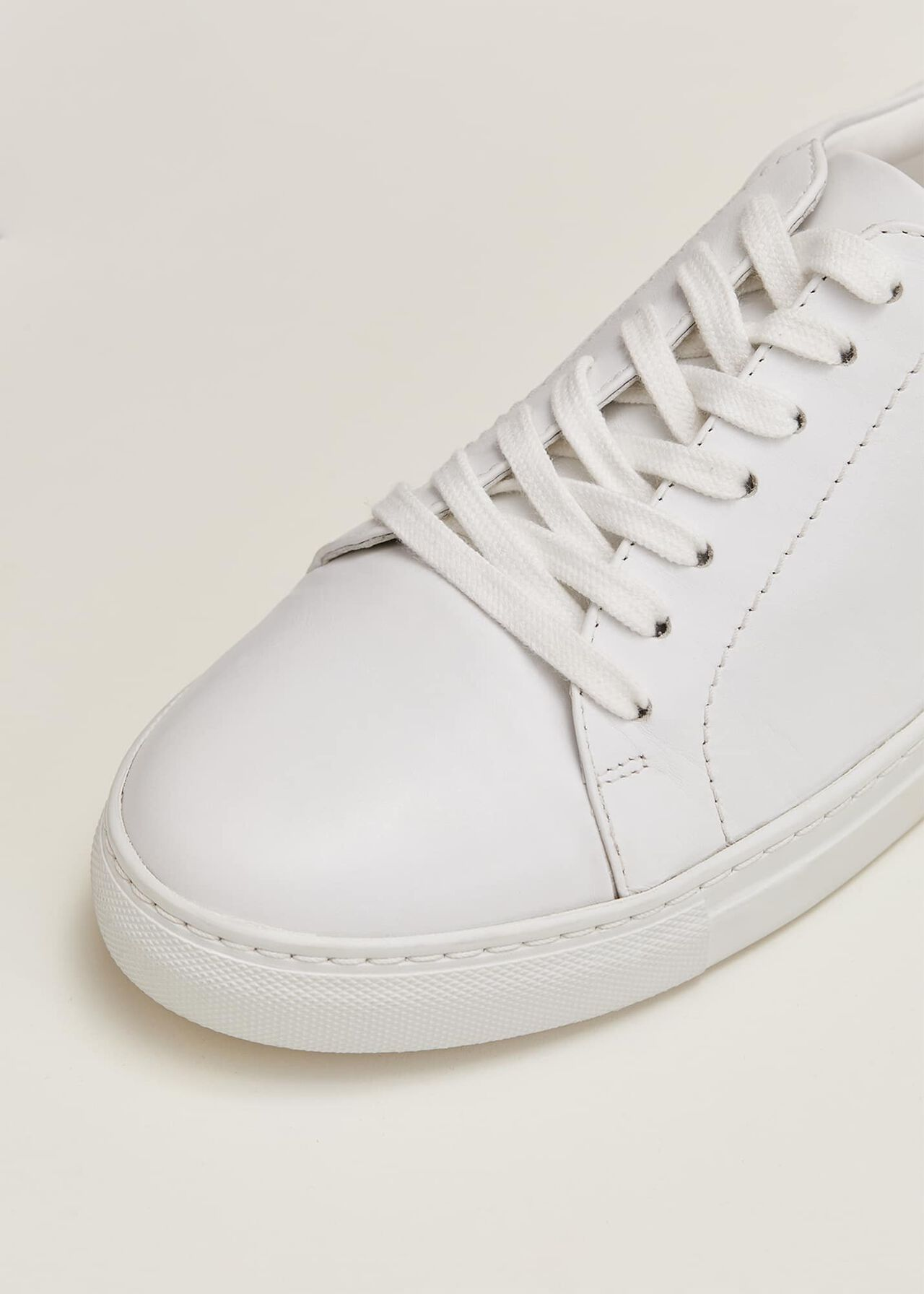 Fleur White Leather Trainers