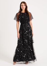 Fleurette Sequin Tiered Maxi Dress