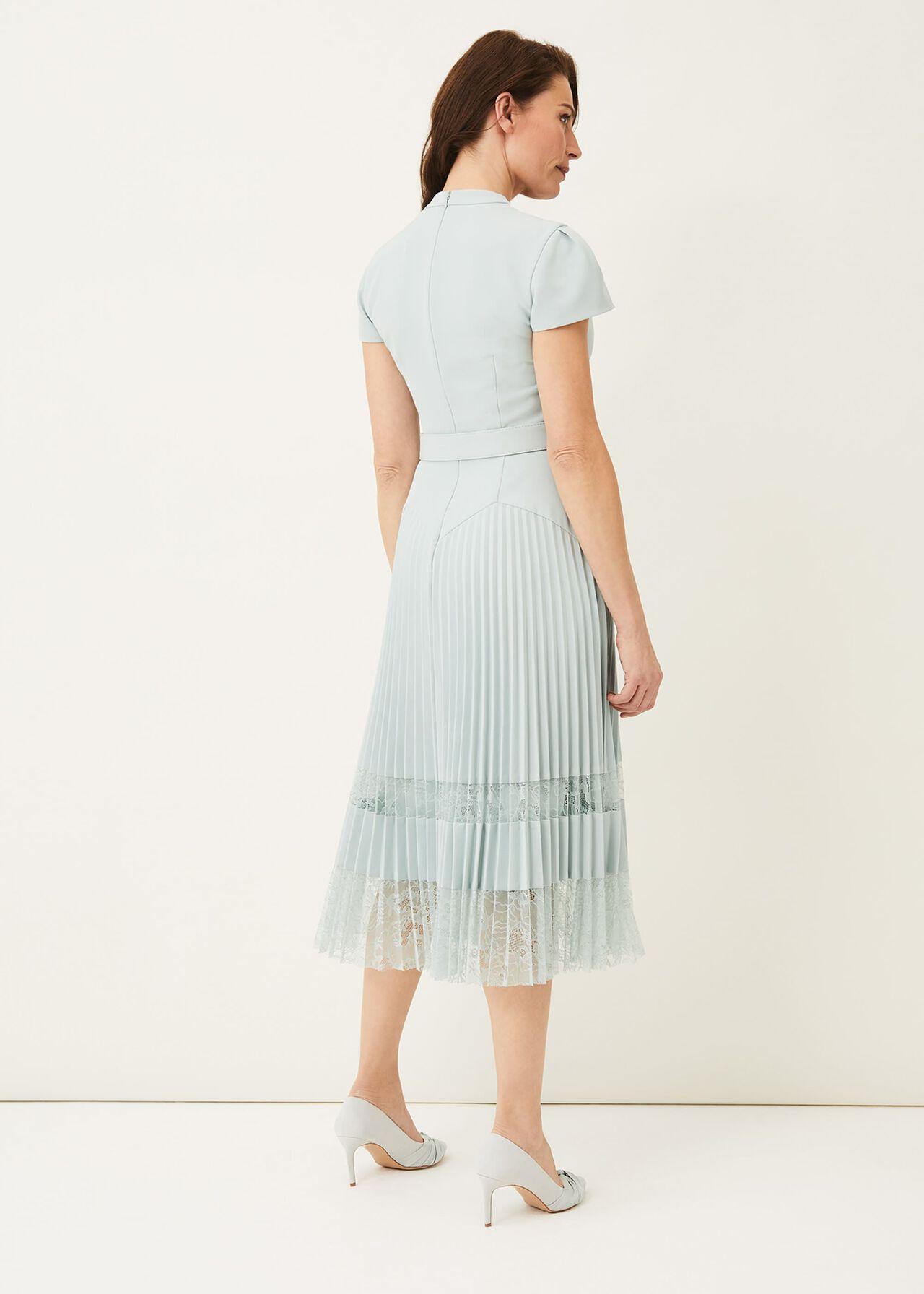 Hannah Pleated Lace Insert Dress