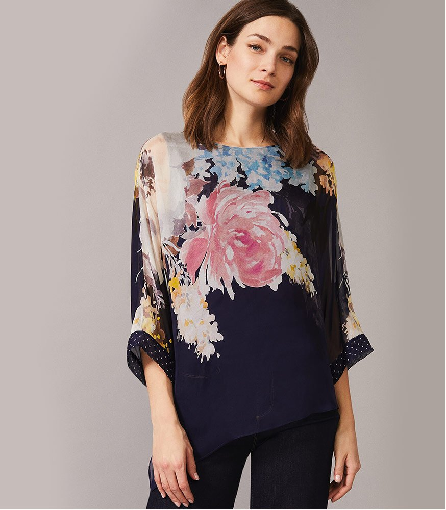 Blanche Floral Spot Silk Blouse