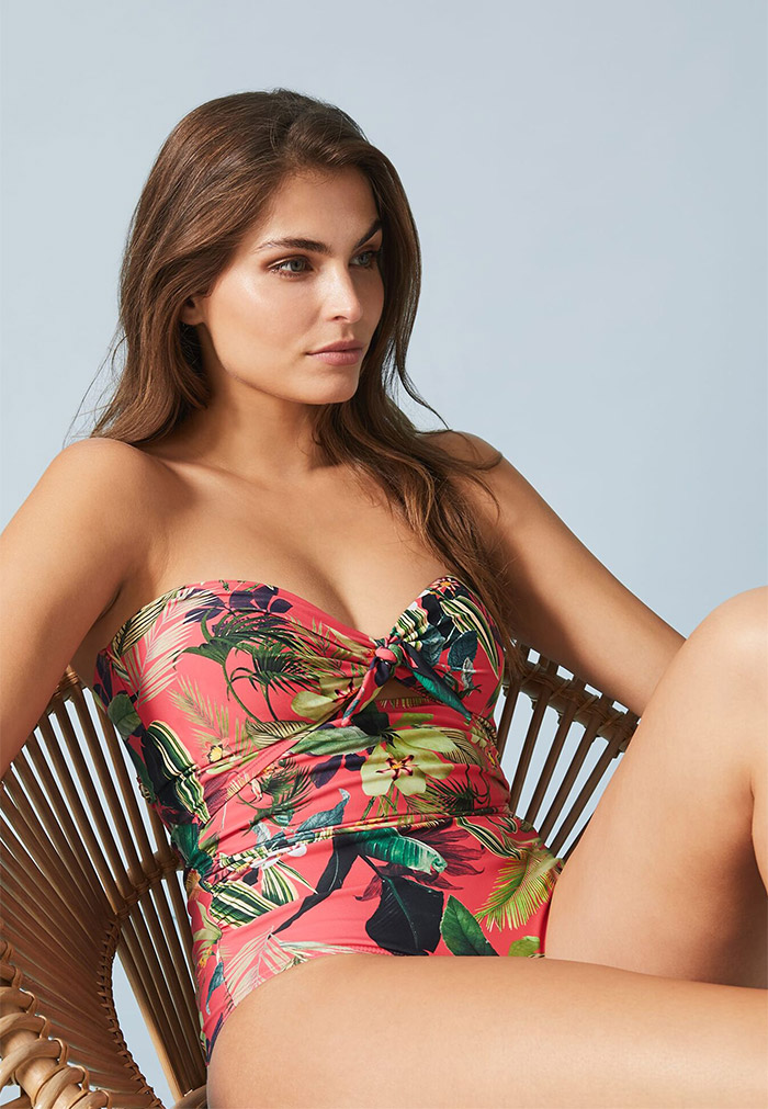 Amelia Tropical Tie Front Swimsuit