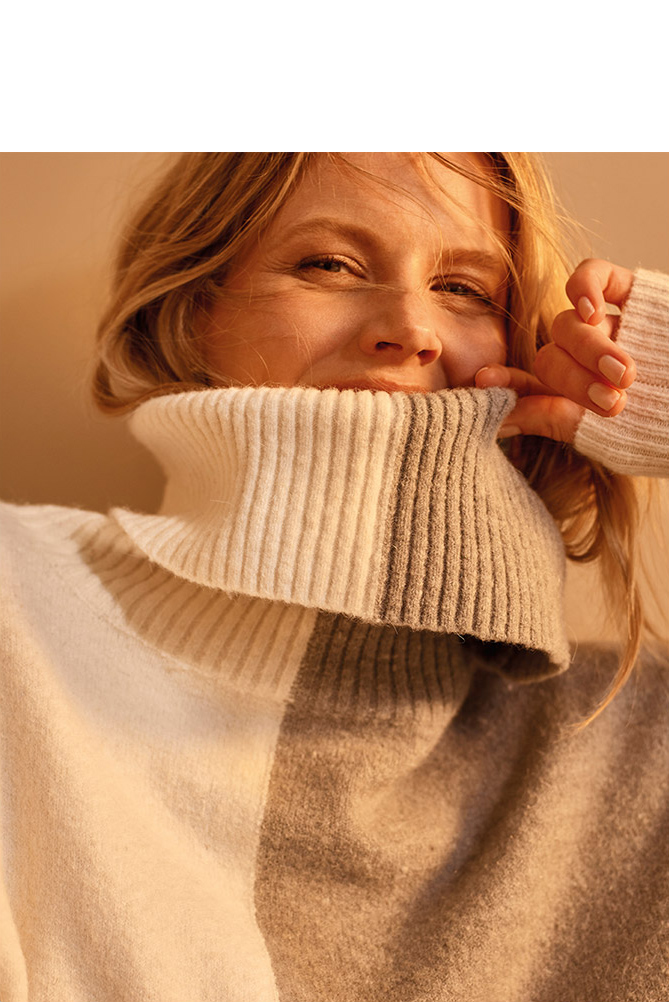 Shop Rae Roll Neck Colourblock Jumper