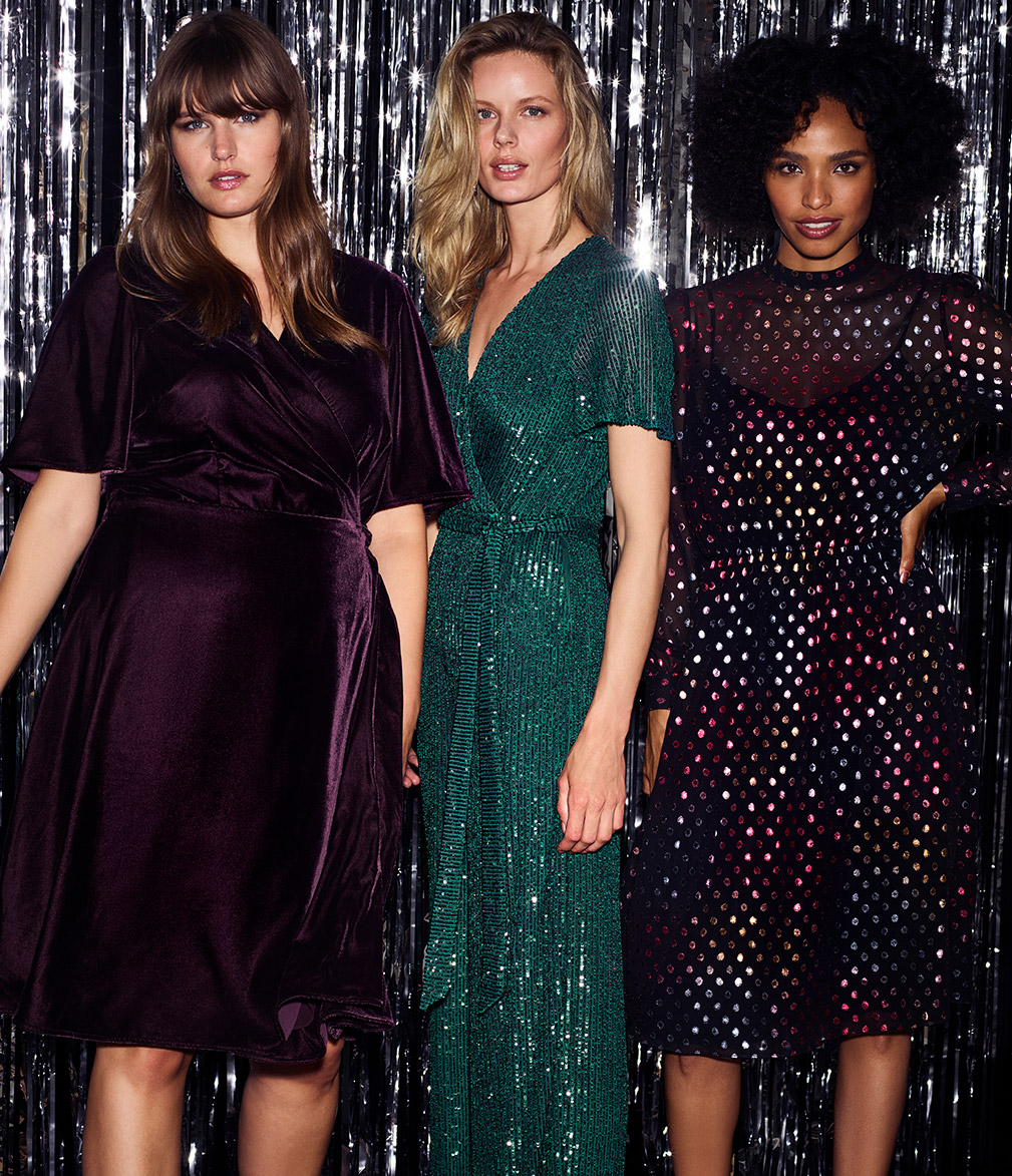 Hannah Velvet Dress | Alessandra Sequin Jumpsuit | Shimmer Spot Dress