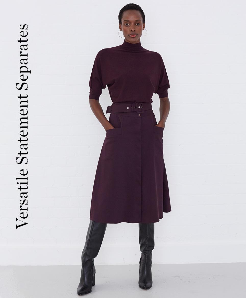Christine Turtle Neck Jumper £49 | Utility A-Line Skirt £79