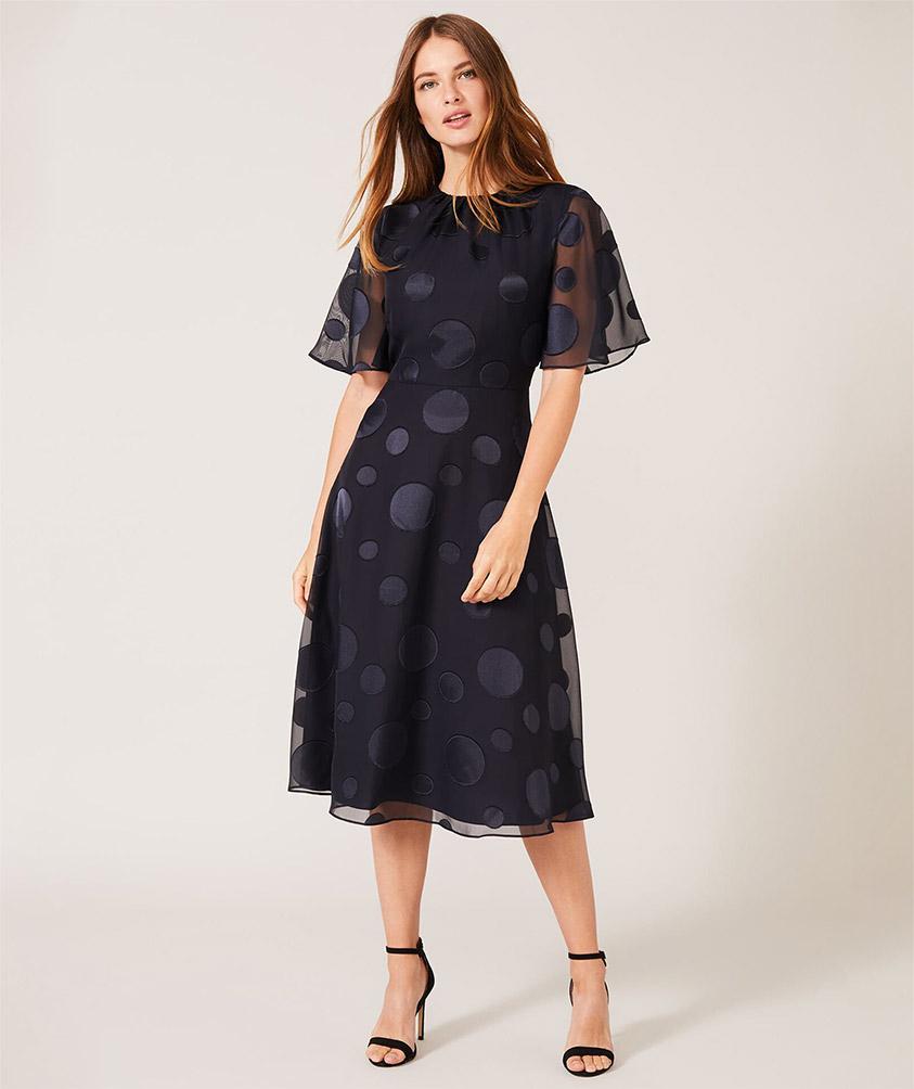 Desiree Spot Georgette Dress