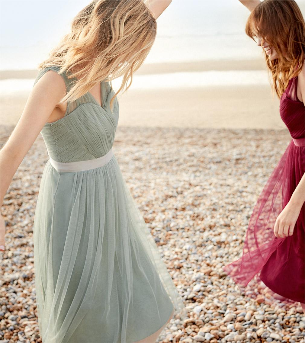 Romy Tulle Dress Pale Mint £140 | Romy Tulle Dress Magenta £140