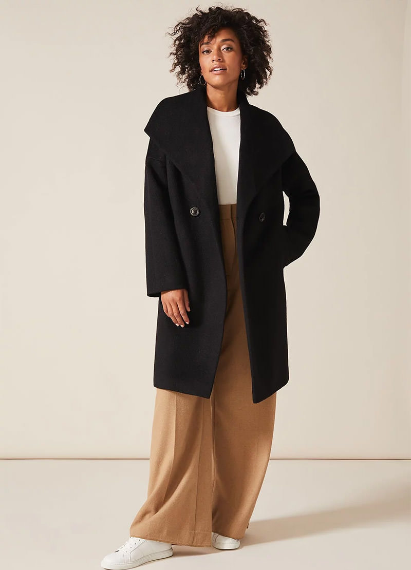 Beth Brushed Cocoon Wool Coat