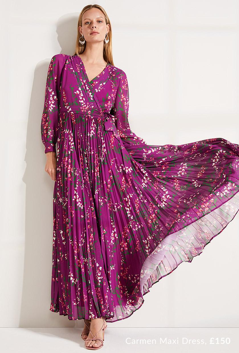 Carmen Pleated Maxi Dress