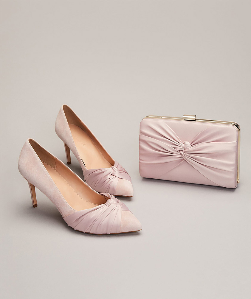 Kendal Knot Pointed Court Shoes - Kendall Satin Clutch Bag