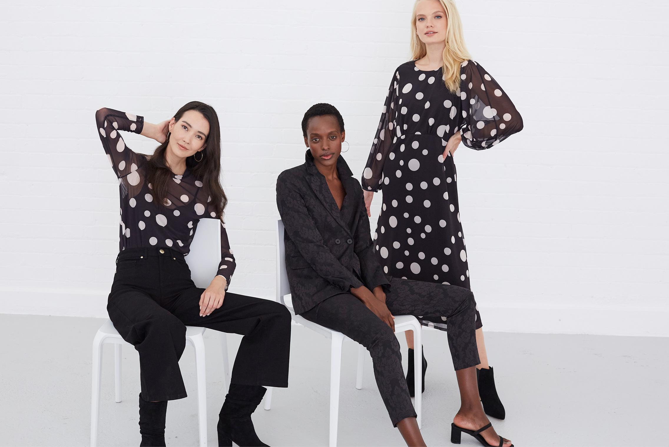 Vita Spot Mesh print Top £55 | Joanna Jacquard Suit Jacket £110 | Vita Mesh Print Dress £99