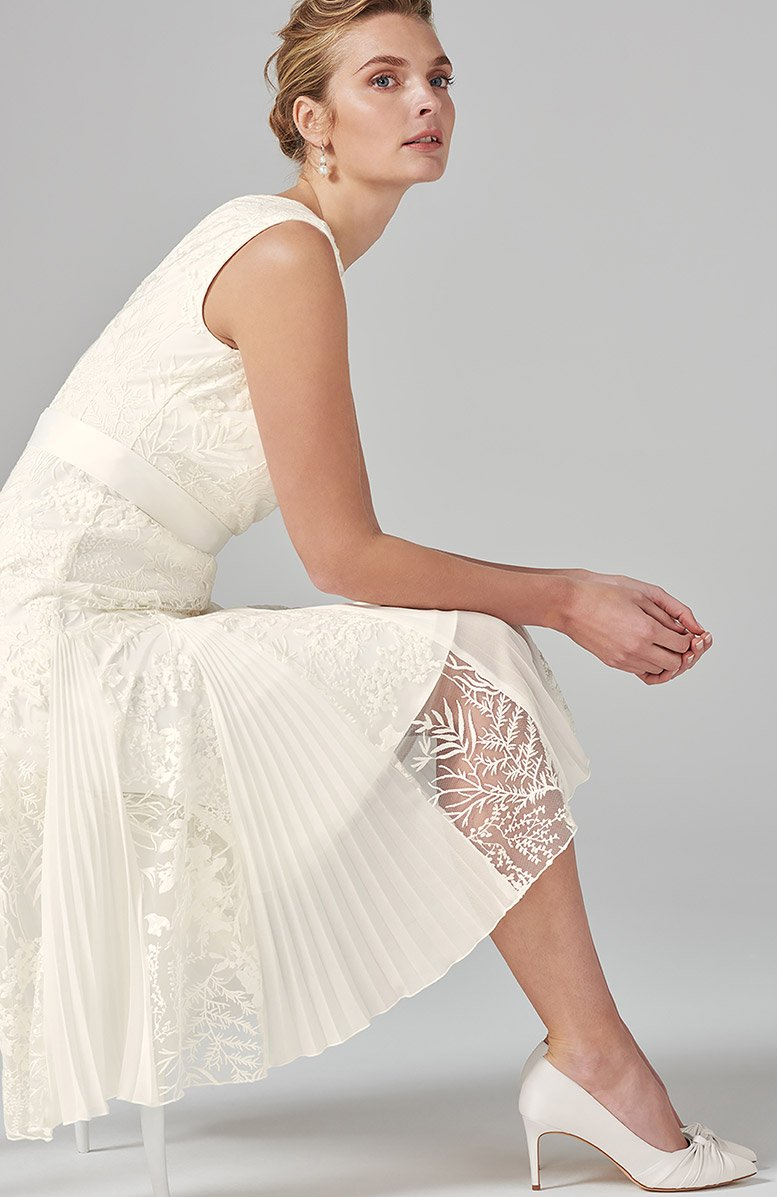 Caterina Embroidered Flared Wedding Dress - £295