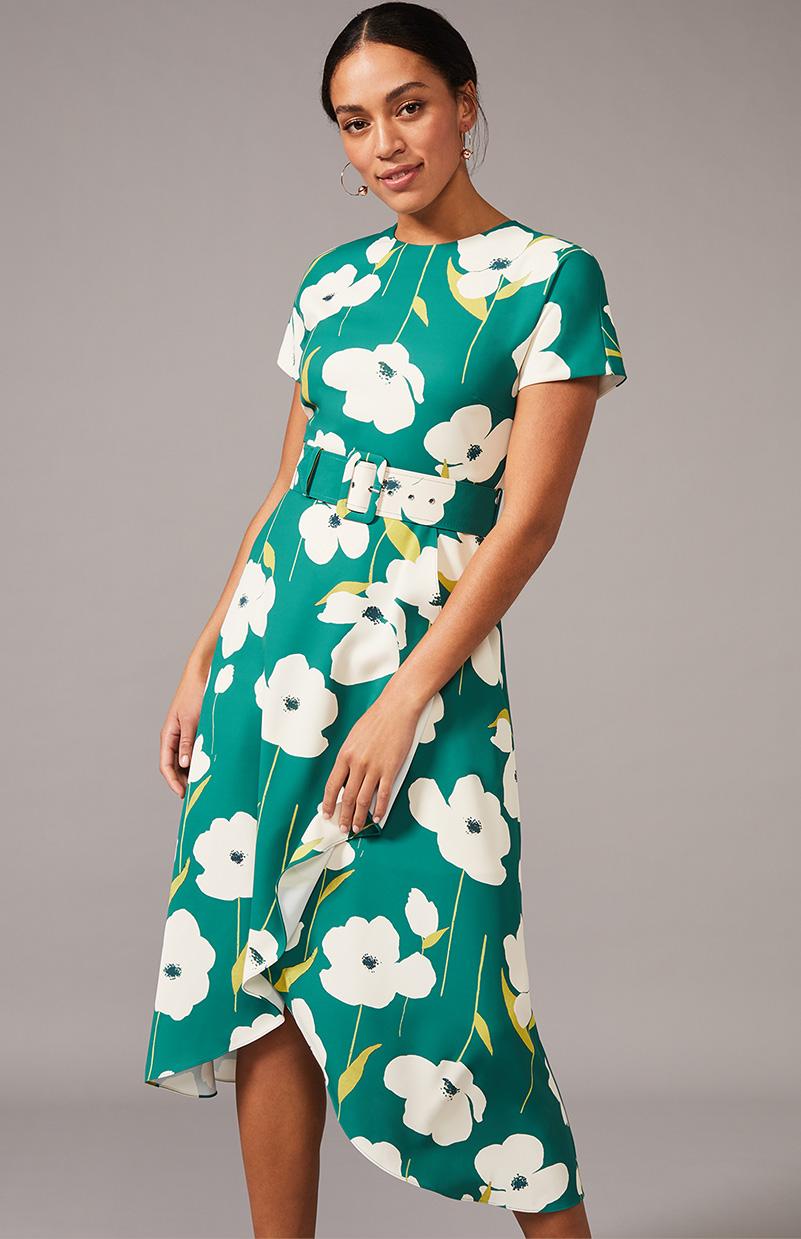Lou-Poppy Frill Midi Dress