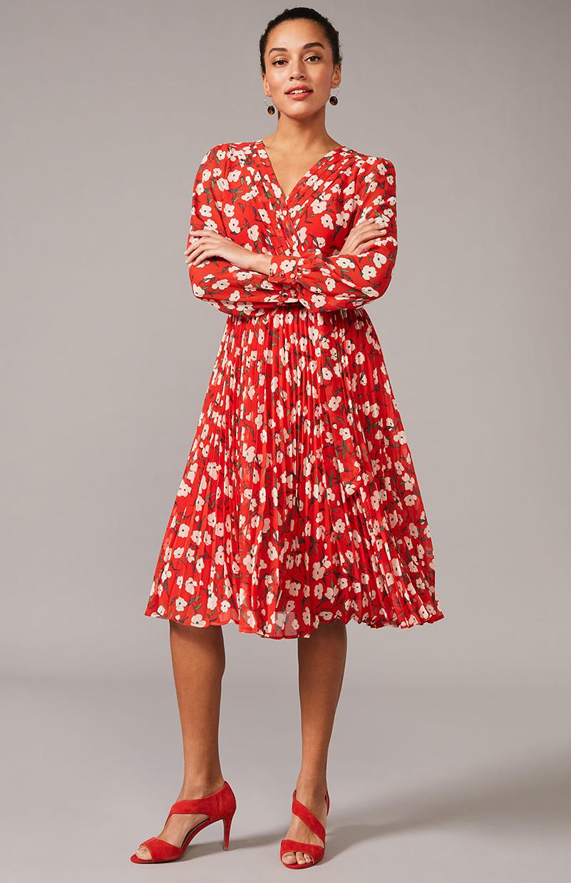 Lou Poppy Ditsy Pleated Skirt Dress