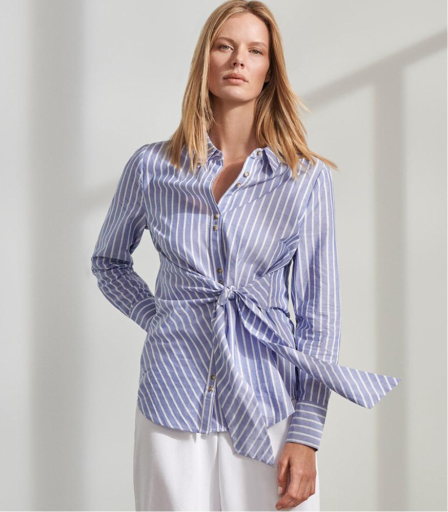 Niona Stripe Tie Shirt