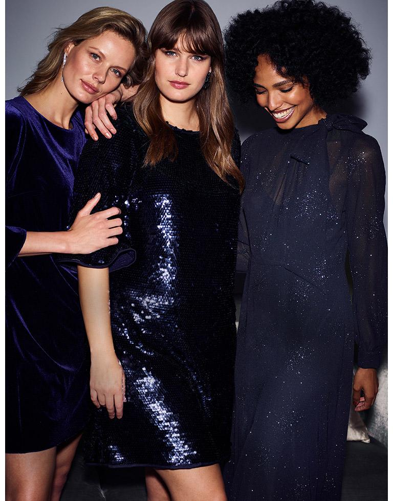 Velvet Pia Dress | Martha Sequin Tunic Dress | Melina Tie Maxi Dress