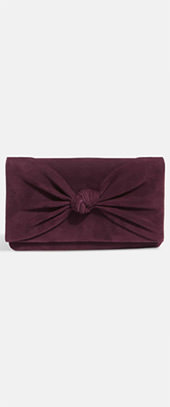 Carrie Knot Front Suede Clutch