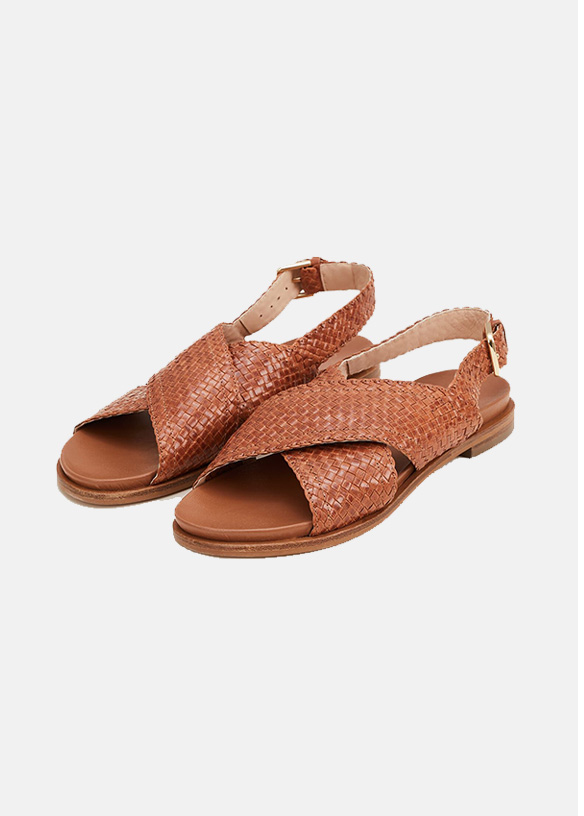 Ellie Leather Crossover Sandals