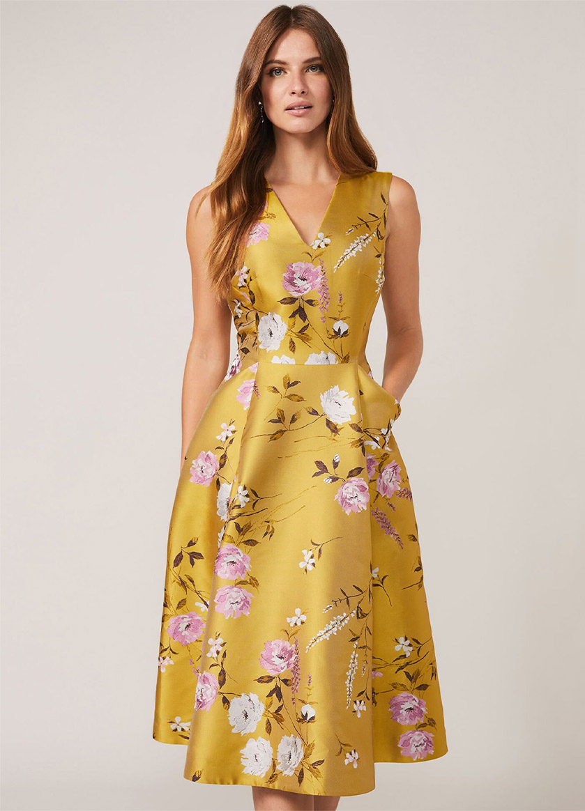 Cecily Floral Jacquard Fit & Flare Dress