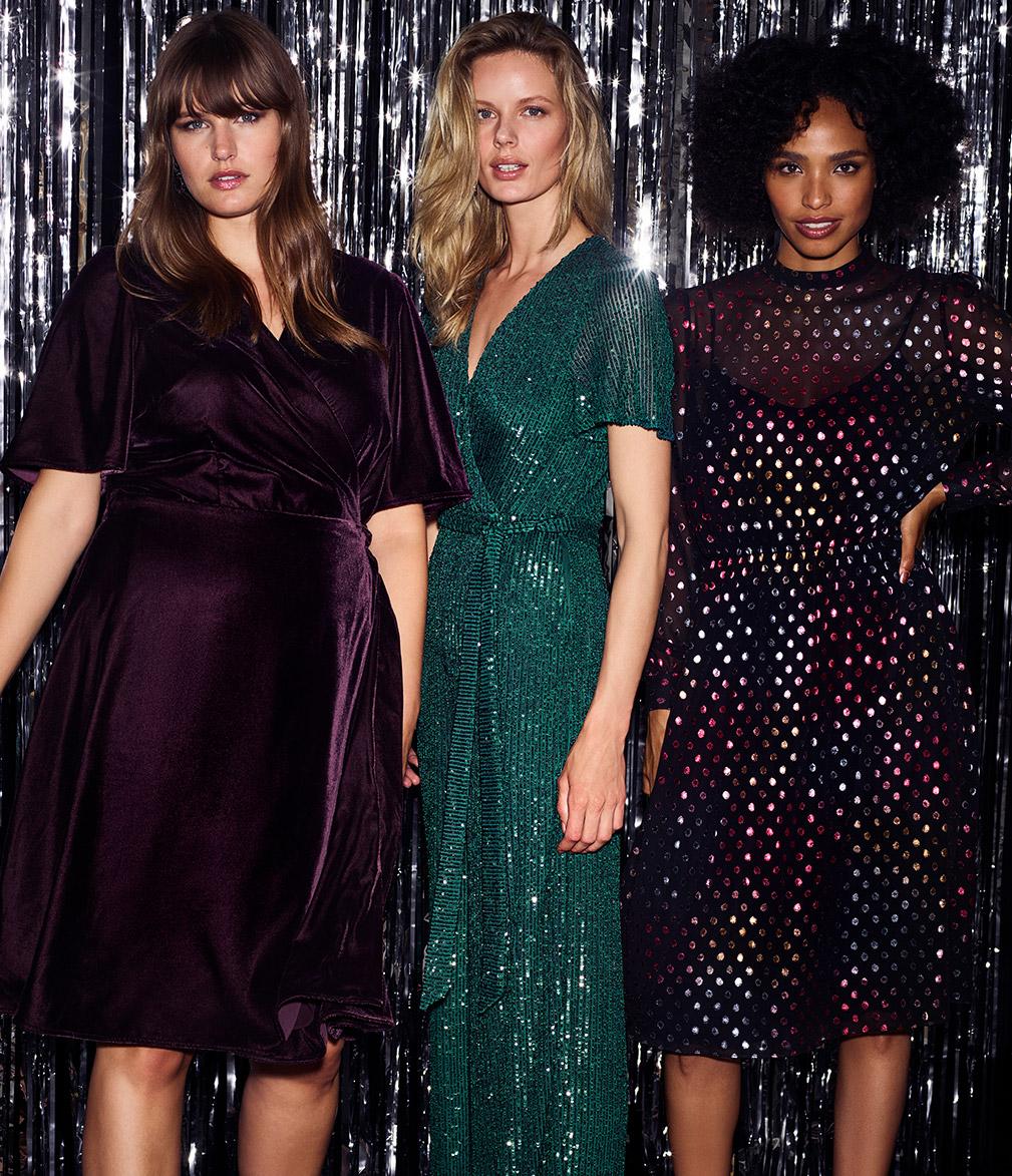Hannah Velvet Dress | Alessandra Sequin Jumpsuit | Shimmer Spot Dress