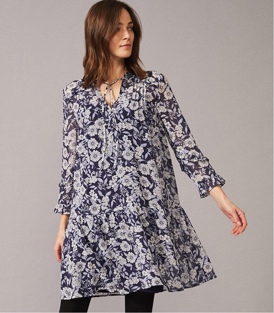 Sassie Floral Chiffon Tunic Dress