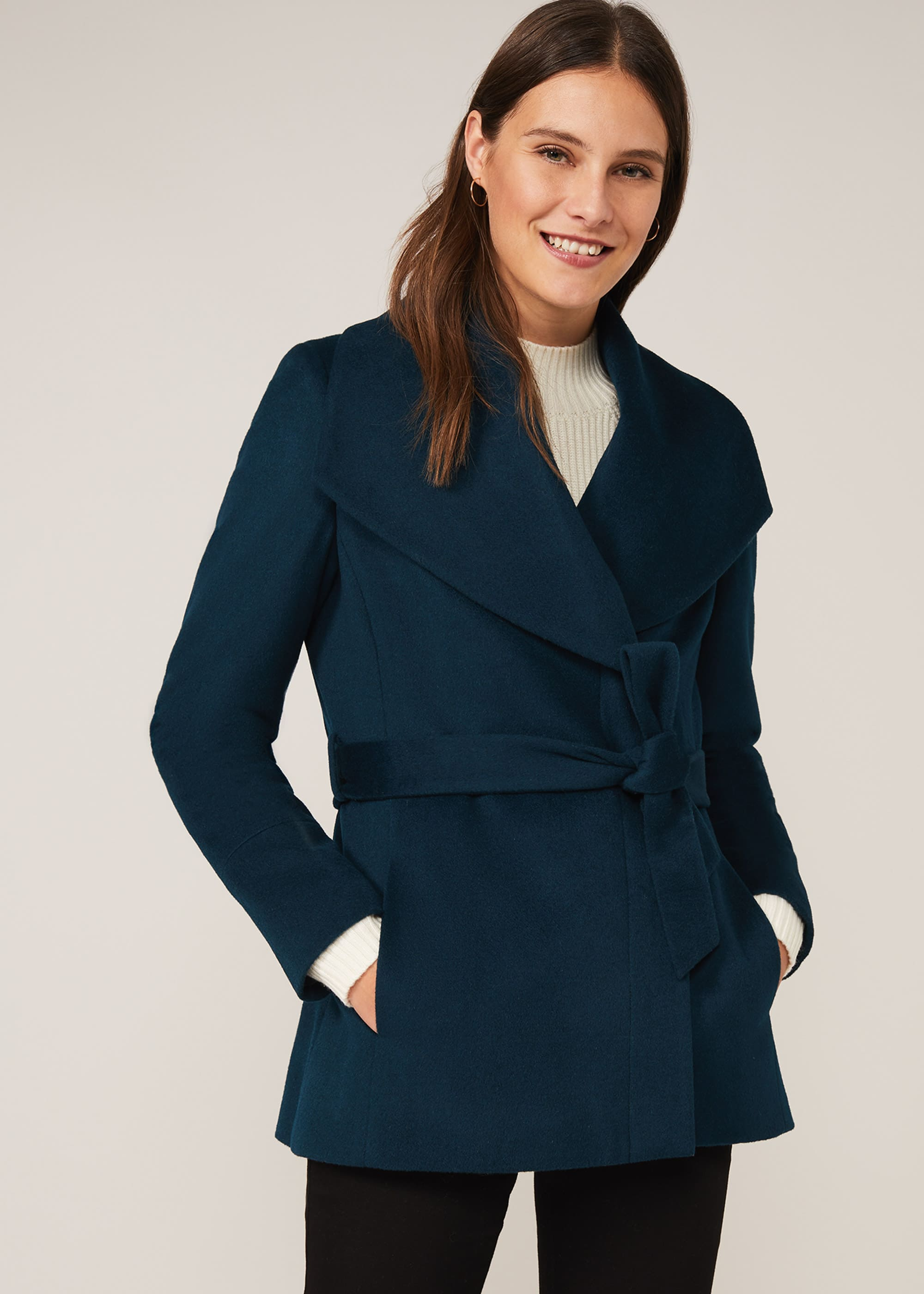 Phase Eight Women Nicci Short Wrap Wool Coat