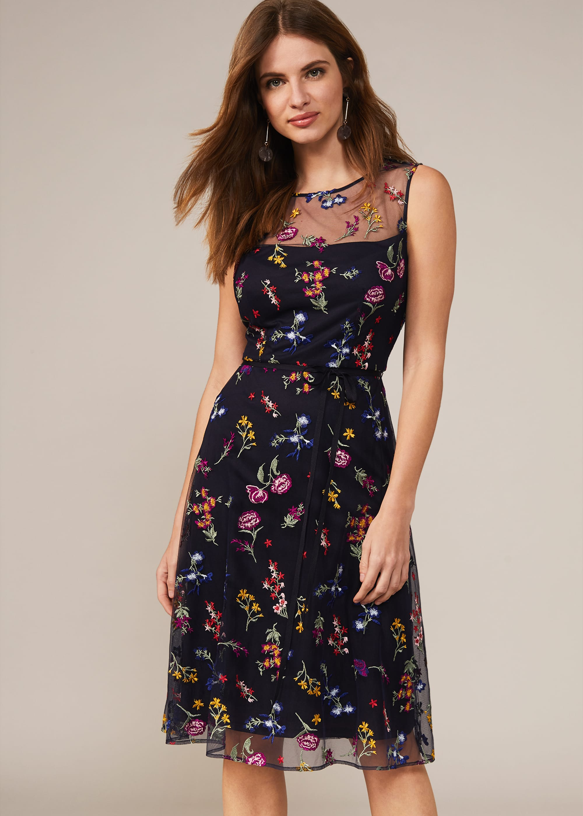 Phase Eight Women Sindy Embroidered Fit and Flare Dress
