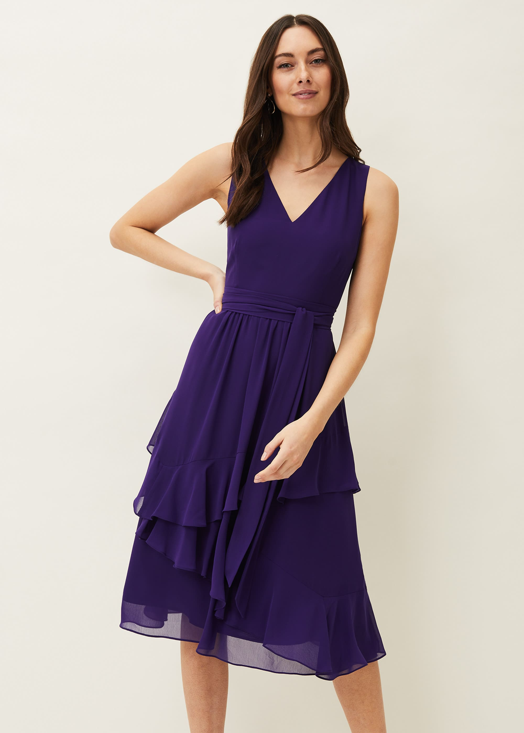 Phase Eight Women Breesha Tiered V-Neck Fit and Flare Belted Dress